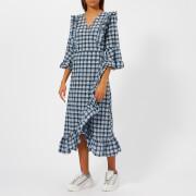 Ganni Women's Charron Frill Midi Dress - Ganache