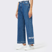 MSGM Women's Logo Jeans - Blue - IT 40/UK 8 - Blue