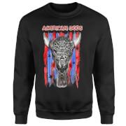 Sweat Homme American Gods Tête de Mort et Drapeau Américain - Noir