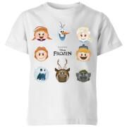 Frozen Emoji Heads Kinder T-shirt - Wit