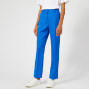 Victoria, Victoria Beckham Women's Fluid Wool Twill Straight Leg Pants - Lapis - UK 10 - Blue
