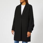 Victoria, Victoria Beckham Women's Gaberdine Tuck Sleeve Coat - Black - UK 10 - Black