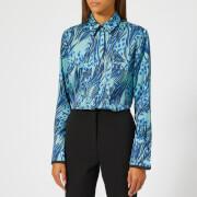 Victoria, Victoria Beckham Women's Printed Poly Twill Front Triple Seam Shirt - Midnight/Lapis - UK 10 - Blue