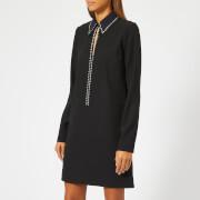 Victoria, Victoria Beckham Women's Embellished Fluid Crepe Open Front Shift Dress - Black - UK 10 - Black