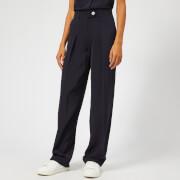 Victoria, Victoria Beckham Women's Satin Crepe Slim Front Pleat Pants - Midnight - UK 10 - Blue