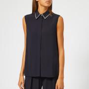 Victoria, Victoria Beckham Women's Embellished Satin Crepe Sleeveless Shirt - Midnight - UK 10 - Blue
