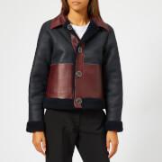 Victoria, Victoria Beckham Women's Lamb Shearling Reversible Jacket - Midnight/Garnet - UK 10 - Blue