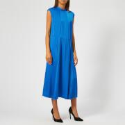 Victoria, Victoria Beckham Women's Satin Crepe Pleat Panel Midi Dress - Lapis - UK 10 - Blue
