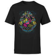 Harry Potter Neon Hogwarts Crest Men's T-Shirt - Black