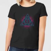 Harry Potter Neon Deathly Hallows Women's T-Shirt - Black