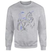 Harry Potter Unicorn Line Art Sweatshirt - Grey