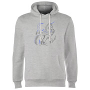 Sweat à Capuche Homme Dessin au Trait Licorne - Harry Potter - Gris