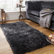 Sienna Soft, Shaggy, Thick Pile Rug 80 x 150cm - Charcoal