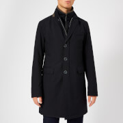 Herno Men's Classic Single Breasted Over Coat - Navy - IT 48/S - Navy