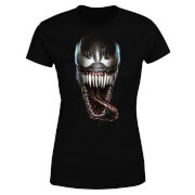 Venom Face Photographic Damen T-Shirt - Schwarz