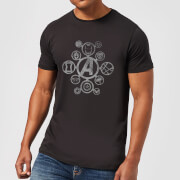 Avengers Distressed Metal Icon Men's T-Shirt - Black