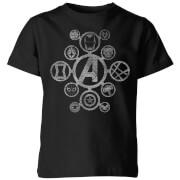 Avengers Distressed Metal Icon Kids' T-Shirt - Black
