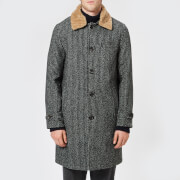 Oliver Spencer Men's Beaumont Sheepskin Collar Coat - Banbury Charcoal - EU 42/L - Grey