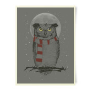 Owl And Moon Art Print