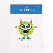 Skater Monster Glasses Vinyl Decal