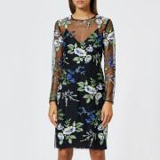 Diane von Furstenberg Women's Embroidered Dress - Black Multi - US 4/UK 8 - Black