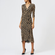 Diane von Furstenberg Women's Assymetrical Rouche Dress - Henlow Birch - L - Multi
