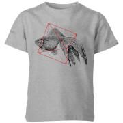 Fish In Geometry Kids' T-Shirt - Grey