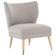 Fifty Five South Regents Park Jacquard Print Wingback Chair - Grey/Beige