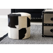 Fifty Five South Kensington Townhouse Ottoman - Black/White Cowhide