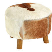 Fifty Five South Inca Round Stool - White/Brown Goathide
