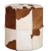 Fifty Five South Kensington Townhouse Ottoman - Brown/White Cowhide