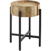 Fifty Five South Crest Side Table - Natural Wood with Black Legs