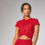 Power Kurzarm Crop Top - Karmesin