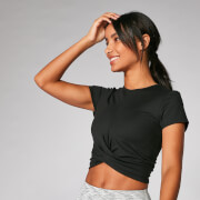 Power Kurzarm Crop Top - Schwarz