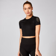 Shape Seamless Kurzarm Crop Top - Schwarz