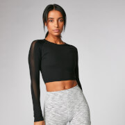 Power Long Sleeve Crop Top - Black