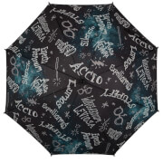 Harry Potter Spells with Molded Wand Umbrella - Black