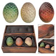 Artisan Designs Game of Thrones Dragon Egg Prop Replica Set in Wooden Box