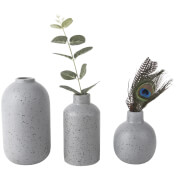 Present Time Dotted Ceramic Vase Set - Grey