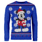 Gestrickter Mickey Mouse Weihnachtspullover - Blau