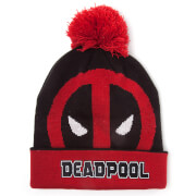 Marvel Deadpool Men's Roll Up Beanie Hat with Pompom - Black