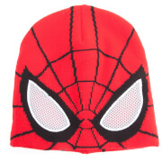 Marvel Spider-Man Men's Knitted Beanie Hat with See Through Mesh Eyes - Red