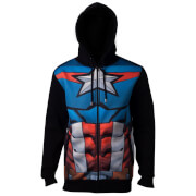 Marvel Avengers Men's Captain America Sublimated Hoody - Navy