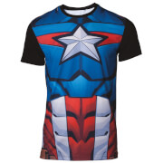 Marvel Captain America Men's Sublimated T-Shirt - Black