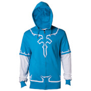 Nintendo The Legend of Zelda Men's Link's Breath of The Wild Zip Through Hoody - Blue