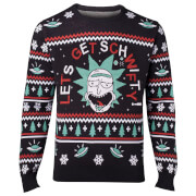 Rick and Morty Let's Get Schwifty Christmas Knitted Jumper - Black