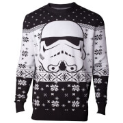 Star Wars Stormtrooper Head Christmas Knitted Jumper - Black