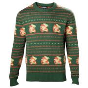 Nintendo The Legend of Zelda Fairisle Christmas Knitted Jumper - Green