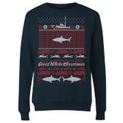 Jaws Great White Christmas Women's Sweatshirt - Navy