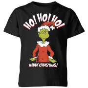 The Grinch Ho Ho Ho Smile Kids Christmas T-Shirt - Black